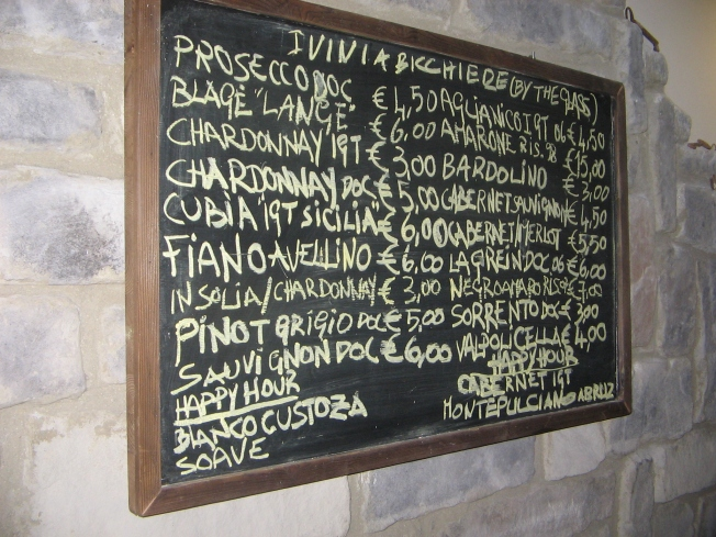 Wine List at Bollicine in Sorrento, Italy