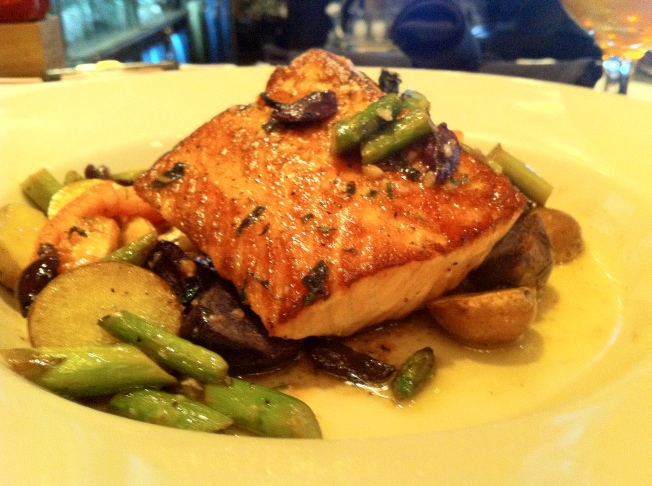 Salmon - with fingerling potatoes, tomatoes, olives, asparagus and olive oil