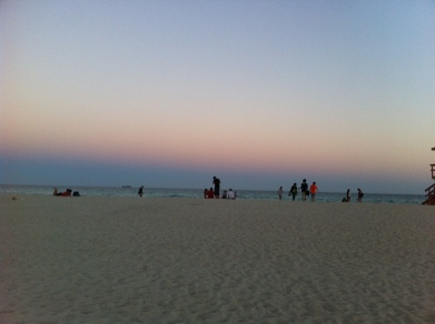 We checked out the beach just across the street from our hotel on Ocean Drive before the sun went down...