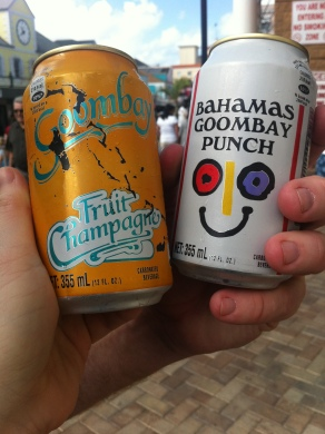 Our Goombay drinks! {Truthfully, these pineapple punch sodas tasted almost identical!}