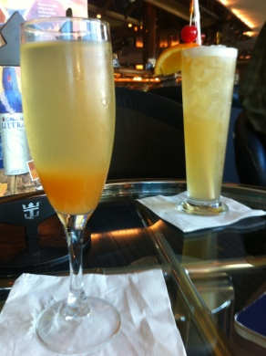 Peach Bellini {even this got to be too sweet for me!} and a Goombay Smash