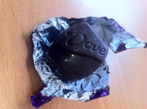 I eat one piece of Dove Dark Chocolate just about every day, often with my coffee. This one had almonds.