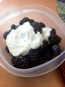 Blueberries and Blackberries with a Greek yogurt and a 1/4 tsp sugar