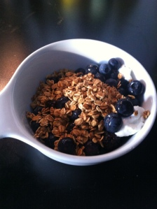 Blackberries, blueberries, Greek Yogurt, 1/4 tsp sugar with an ounce of Ola! No Nut Vanilla Granola
