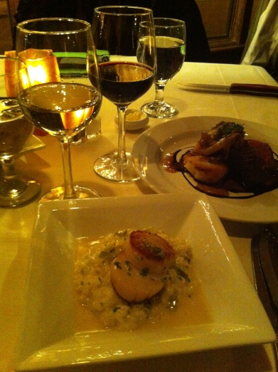 Duo of Scallops with Burgundy and Tenderloin with Cabernet Sauvignon