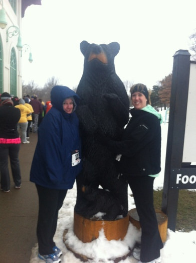 I made Stacy and Jen pat the bear's belly for good luck like I did last year. ;-)