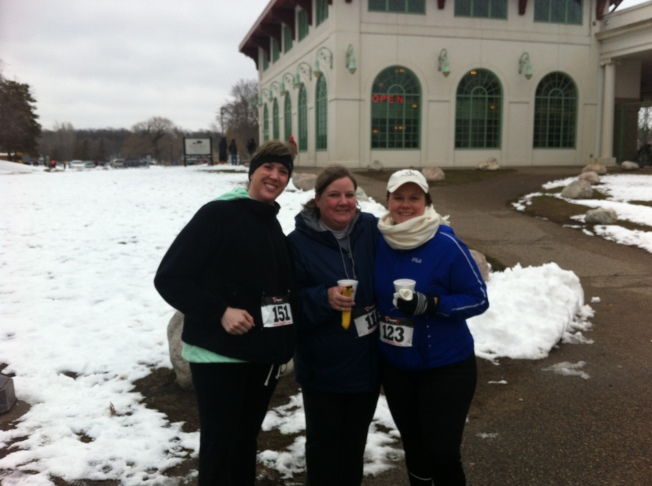 Jen, Stacy and Carrie post race with hot beverages!