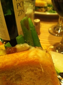 GRILLED CHEESE asparagus, chevre, smoked gouda and caramelized onion on sourdough 12
