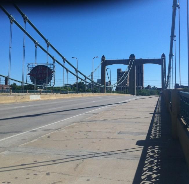 Hennepin Ave Bridge with Grain Belt Beer Sign
