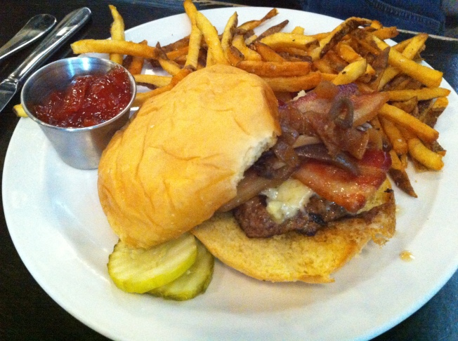 KINGS BURGER caramelized onions, gruyere cheese, bacon, pickles and shallot aioli $11