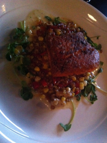 Salmon over wheat berries with a paquillo pepper creme fraiche