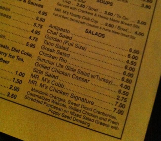 Menu - M's Salad