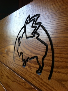 Carved into our booth.