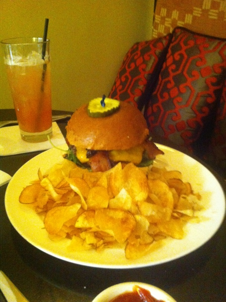 The Mosaic Burger Swiss or Cheddar Cheese with Spring Greens, Tomato, Char re d Red Onion 16 & Butter Pick le , Choi ce of Fries or House Made Chips