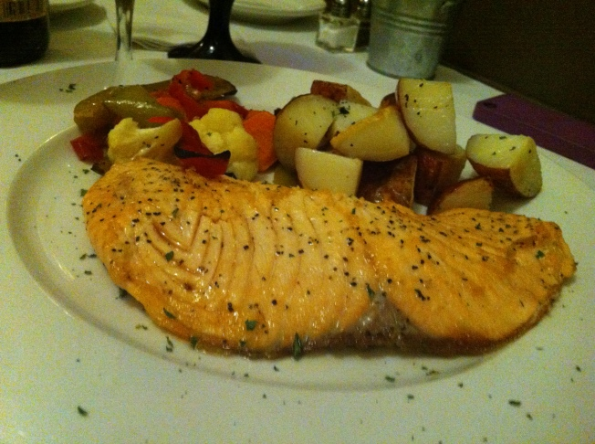 Pan Seared Wild Atlantic Salmon with Roasted Mixed Vegetables and Roasted New Potatoes