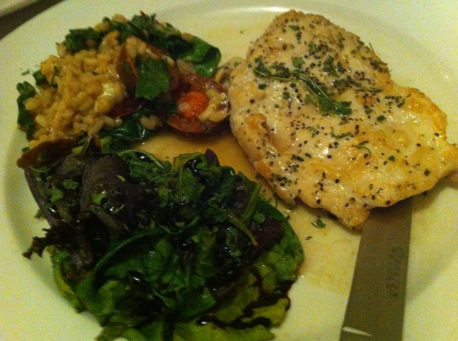 Lemon Thyme Broiled Chicken Breast with Risotto and Sauteed Greens