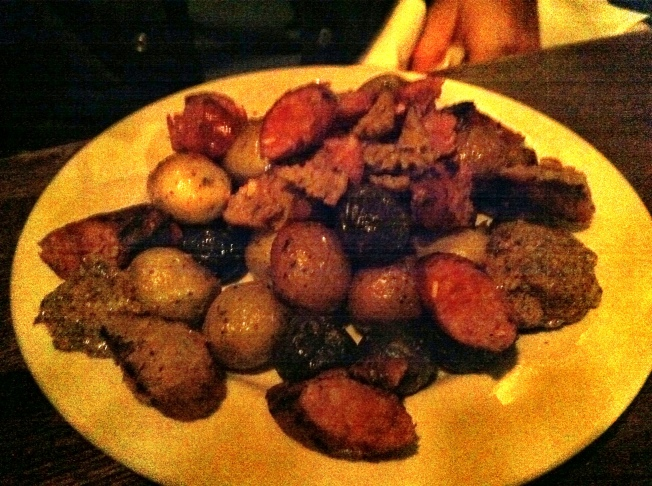 Sausages - roasted potatoes, mustard