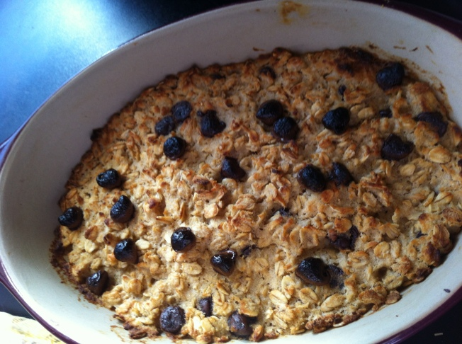 Coconut Cookie Dough Oatmeal {Note to self: broil it for less time or broil it further from the heat source to keep the chocolate chips from burning.}