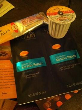 Gevalia Caramel Macchiato K-Cup and Pantene Advanced Keratin Repair Shampoo and Conditioner Sachet
