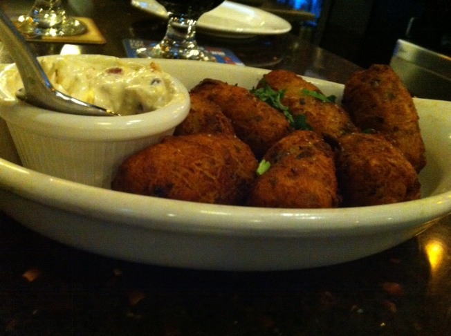 Cheddar filled homemade tater tots served piping hot with a side of bacon-chive dipping sauce. 7.95