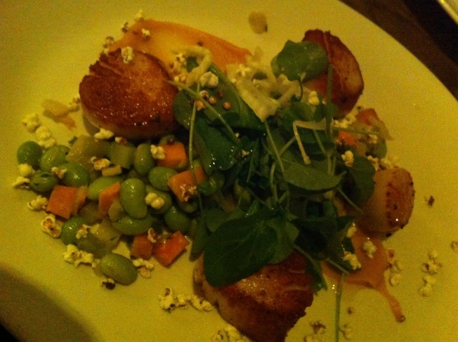 Seared Scallops - sweet potato, fennel, edamame, lavender