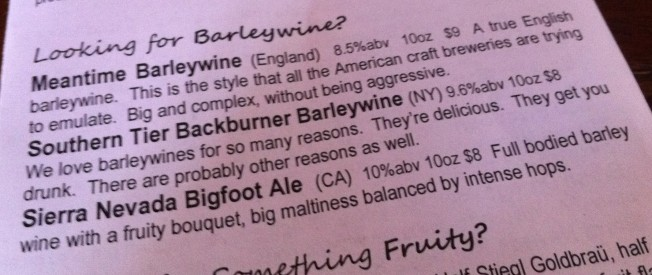 Barleywine descriptions