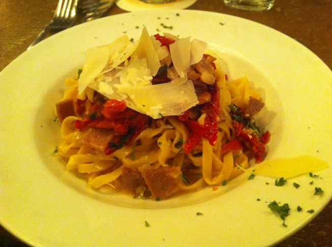 Linguine with proscuitto, sun-dried tomato, garlic, basil, olive oil and parmesan