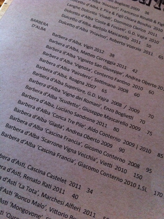 Terzo Barbera Wine List