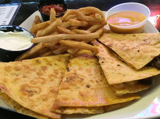 Drunken Steak Quesadilla$9.99Seared tenderloin steak smothered in whiskey onions and Cheddar Jack cheese folded between a jalapeno tortilla. Served with our ale cheese sauce.