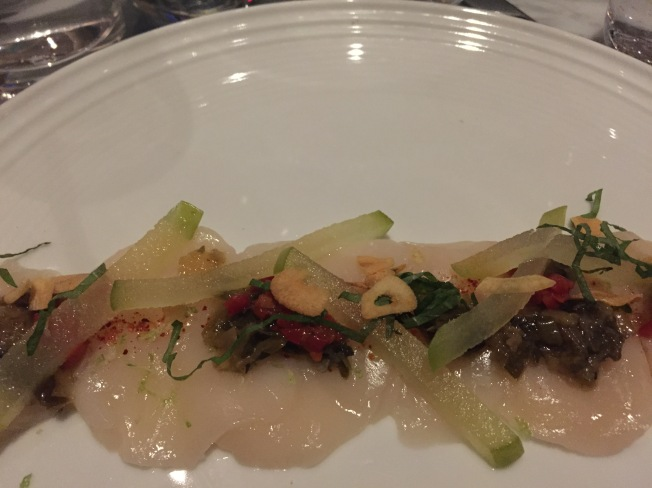 Day Boat Scallop Carpaccio* green apple, shiso, chilies, scallion vinaigrette 16