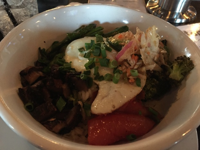 Veggie Rice Bowl - portabella mushroom, asparagus, broccoli, roasted roma tomato, red pepper slaw, fried egg, basil cream (I added salmon for $5, but they forgot it.)