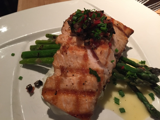 Grilled Norwegian Salmon18.95 (dinner only) Roasted garlic mashed potatoes, grilled asparagus, portabello salsa, lemon butter sauce