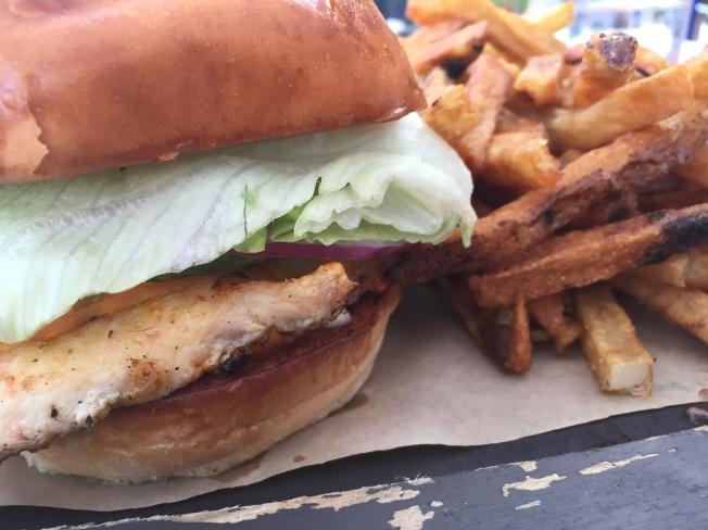 Chili Rubbed Chicken Sandwich - Mahon cheese, avocado, Sriracha aioli, brioche bun - $15