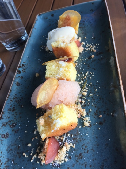 Almond Cake - plum, apricot, rosemary, vanilla bean ice cream, bellini sorbet - $9