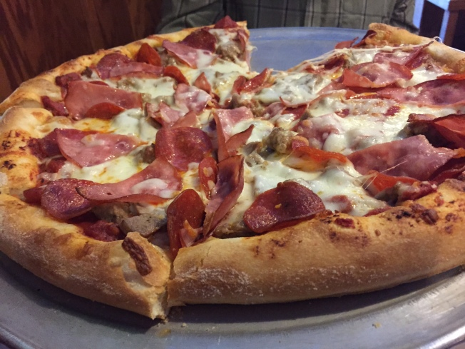 Carne Pazza (Meat Crazy) Pepperoni, Canadian bacon, sausage and sliced meatballs