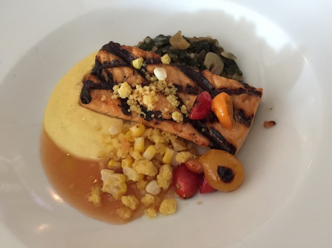 Grilled Norwegian Salmon - Sweet Corn Bread Budding, Swiss Chard & Tomato Jam - $24