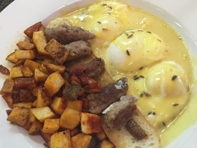 Homemade Coriander Sausage Benny - Two {Three!} poached eggs, French Bread,