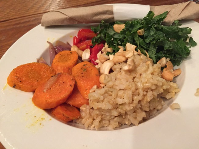 Brown rice, roasted sweet potato, red pepper, onion, kale with maple tahini dressing