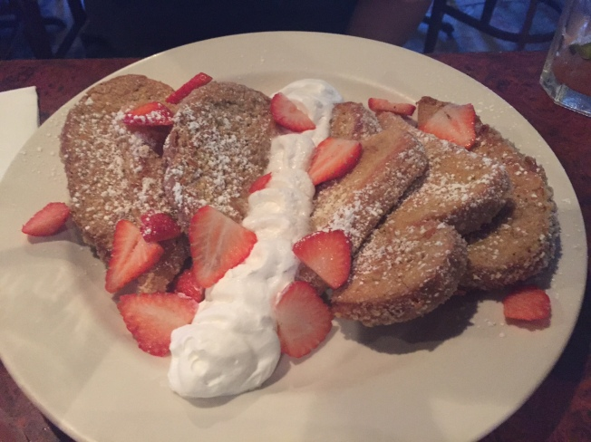 $8.95 - French Toast Cinnamon streusel andpanko coated Texas toast, grilled to a goldn brown, topped with whip cream and fresh strawberries. - See more at: http://www.joliesplaceaz.com/menu#sthash.4J6LGqsf.dpuf