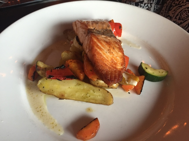 Pan-Seared Salmon [GF] / garlic mashed potatoes, shaved vegetables, lemon burre-blanc. 23