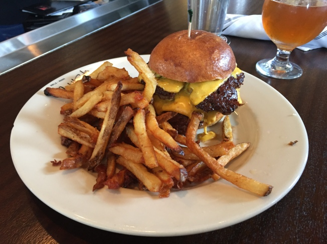Nighthawks (Double) Cheesebuger - $14 - griddled onion, pickles and special sauce