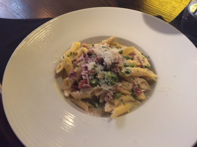 Garganelli - hand rolled penne, prosciutto, peas and parmesan cream - $19