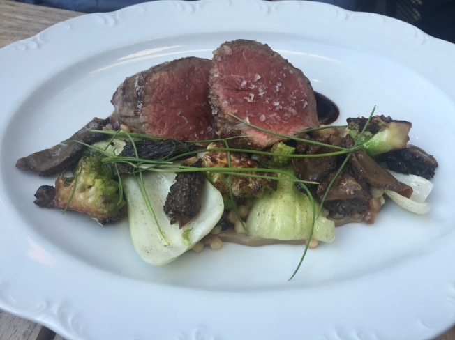GRILLED BEEF TENDERLOIN with Morel Mushrooms, Romanesco & Red Wine 35
