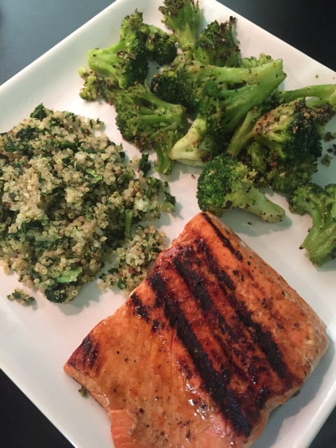 Grilled Spicy Salmon, Oven Roasted Frozen Broccoli and Quinoa with Kale
